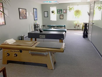 Adjustment table inside Tuckahoe Family Chiropractic, a Richmond area Chiropractor